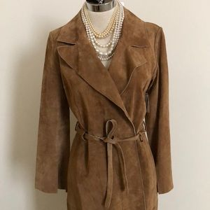 ⭕️⭕️💯% SUEDE LEATHER CAMEL COLORED DRESSY COAT